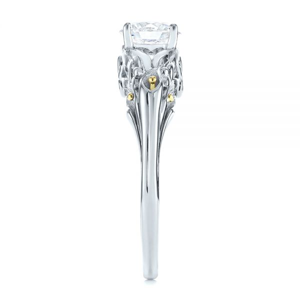 14K White Gold Floral Two-Tone Diamond Engagement Ring - Side View -  104089 - Thumbnail