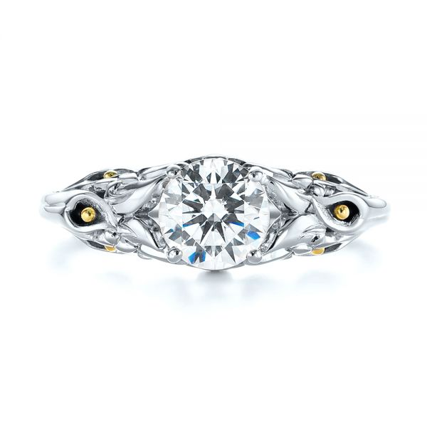14K White Gold Floral Two-Tone Diamond Engagement Ring - Top View -  104089 - Thumbnail