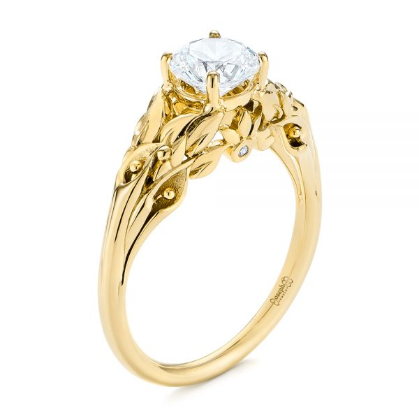 14K Yellow Gold Floral Two-Tone Diamond Engagement Ring - Three-Quarter View -  104089 - Thumbnail