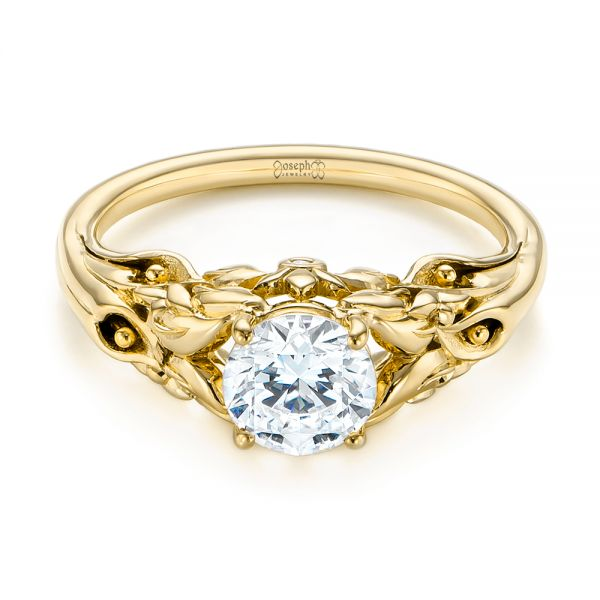 14K Yellow Gold Floral Two-Tone Diamond Engagement Ring - Flat View -  104089 - Thumbnail