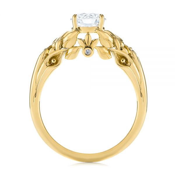 14K Yellow Gold Floral Two-Tone Diamond Engagement Ring - Front View -  104089 - Thumbnail