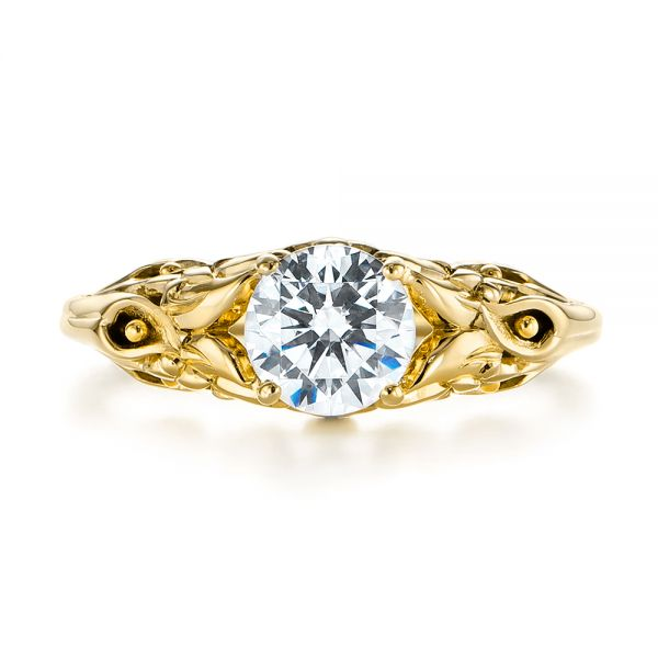 14K Yellow Gold Floral Two-Tone Diamond Engagement Ring - Top View -  104089 - Thumbnail