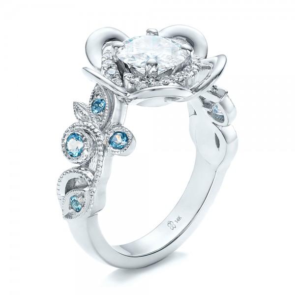 Custom Organic Flower Halo Diamond And Blue Topaz Engagement 101946 Bellevue Seattle Joseph Jewelry