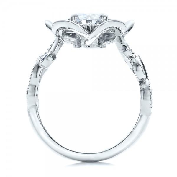Custom Organic Flower Halo Diamond and Blue Topaz Engagement Ring - Finger Through View