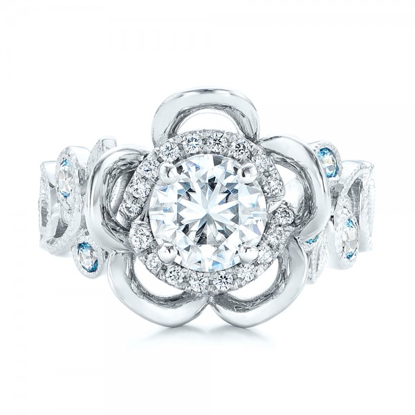 Custom Organic Flower Halo Diamond and Blue Topaz Engagement Ring - Top View