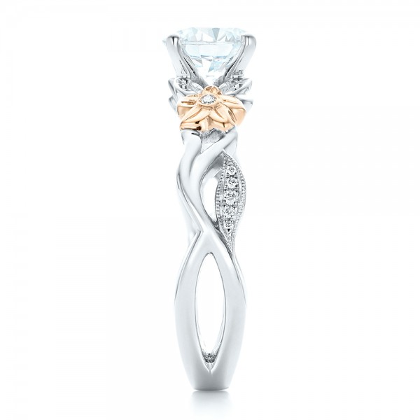 Two-Tone Flower and Leaf Diamond Engagement Ring - Side View