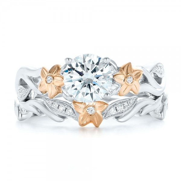 Two-Tone Flower and Leaf Diamond Engagement Ring - Top View -  102554 - Thumbnail