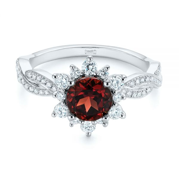 Garnet and Diamond Cluster Halo Engagement Ring