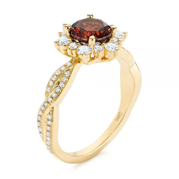 Garnet and Diamond Cluster Halo Engagement Ring - Image