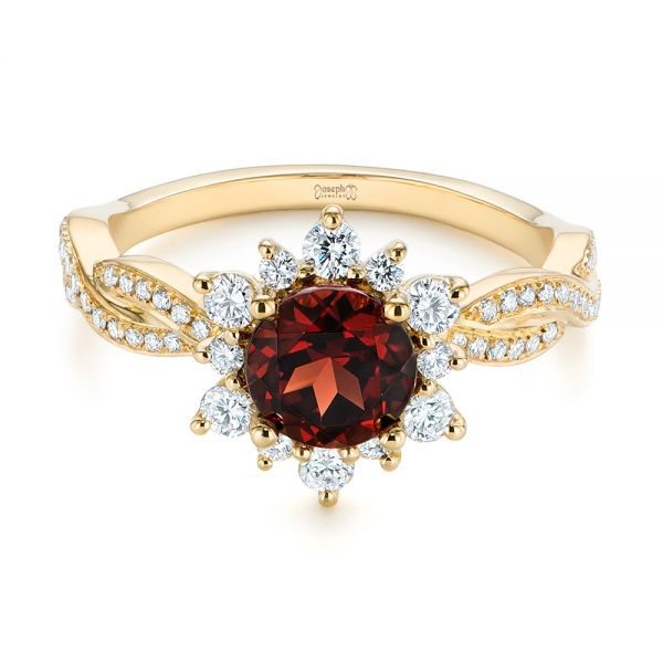 18k Yellow Gold Garnet And Diamond Cluster Halo Engagement Ring - Flat View -  104866