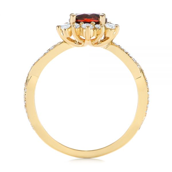 18k Yellow Gold Garnet And Diamond Cluster Halo Engagement Ring - Front View -  104866