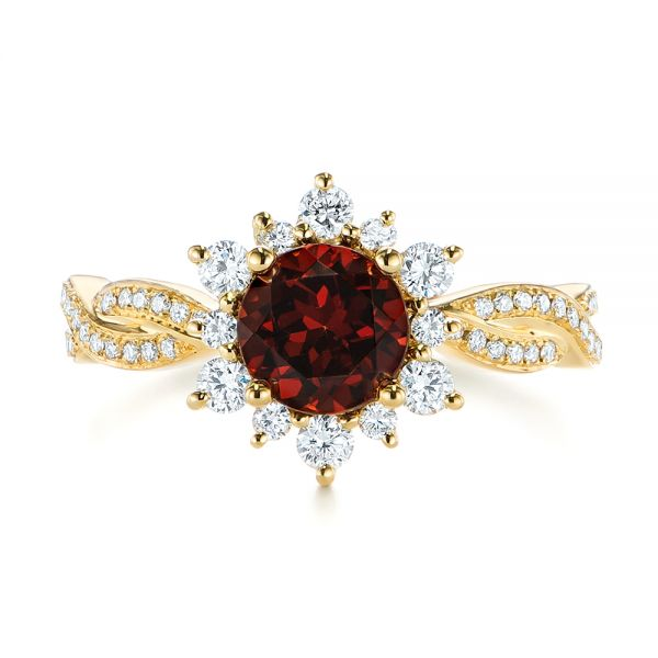 18k Yellow Gold Garnet And Diamond Cluster Halo Engagement Ring - Top View -  104866