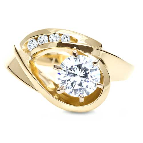 Gold Diamond Engagement Ring - Top View -  217 - Thumbnail