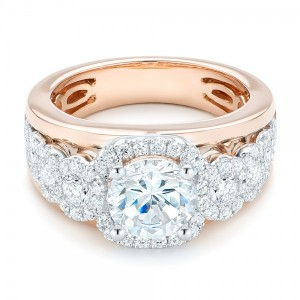 Cluster Diamonds and Halo Two-Tone Engagement Ring