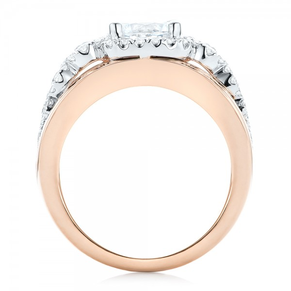 Cluster Diamonds and Halo Two-Tone Engagement Ring - Finger Through View