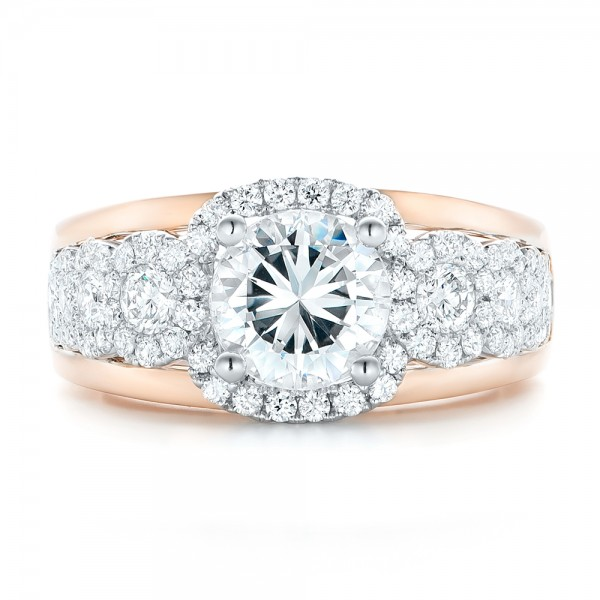 Cluster Diamonds and Halo Two-Tone Engagement Ring - Top View