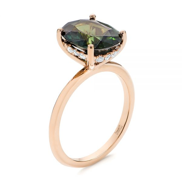 Green Sapphire and Hidden Halo Diamond Engagement Ring - Image