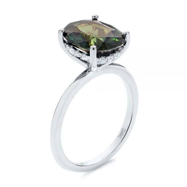 14k White Gold 14k White Gold Green Sapphire And Hidden Halo Diamond Engagement Ring - Three-Quarter View -  105861