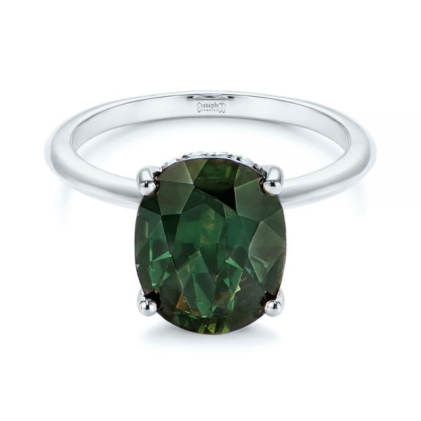 14k White Gold 14k White Gold Green Sapphire And Hidden Halo Diamond Engagement Ring - Flat View -  105861