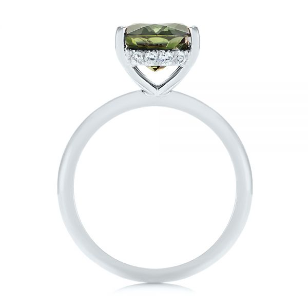 14k White Gold 14k White Gold Green Sapphire And Hidden Halo Diamond Engagement Ring - Front View -  105861
