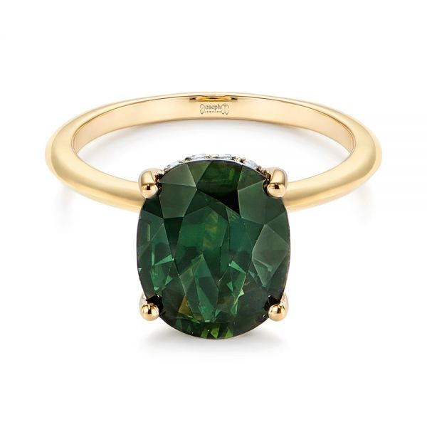 14k Yellow Gold Green Sapphire And Hidden Halo Diamond Engagement Ring - Flat View -  105861
