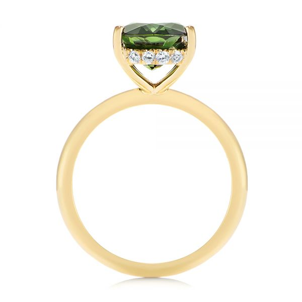 14k Yellow Gold Green Sapphire And Hidden Halo Diamond Engagement Ring - Front View -  105861 - Thumbnail