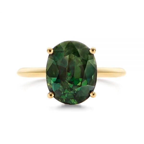 14k Yellow Gold Green Sapphire And Hidden Halo Diamond Engagement Ring - Top View -  105861