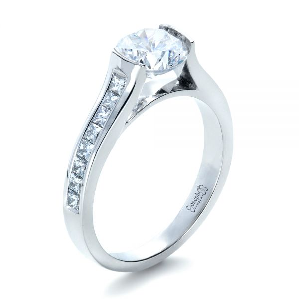 18k White Gold Half Bezel Diamond Engagement Ring - Three-Quarter View -