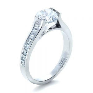 Half Bezel Diamond Engagement Ring - Image