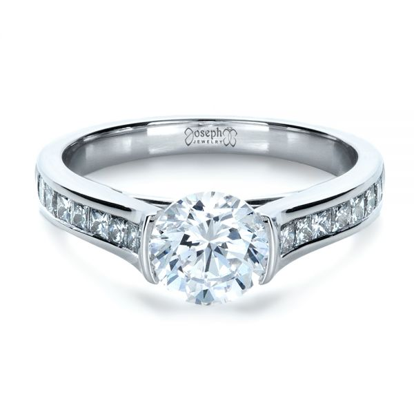 18k White Gold Half Bezel Diamond Engagement Ring - Flat View -