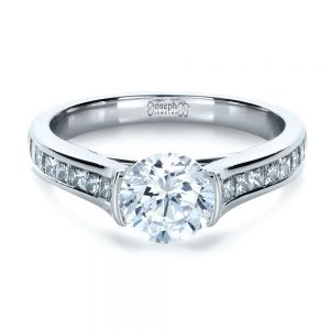 Half Bezel Diamond Engagement Ring