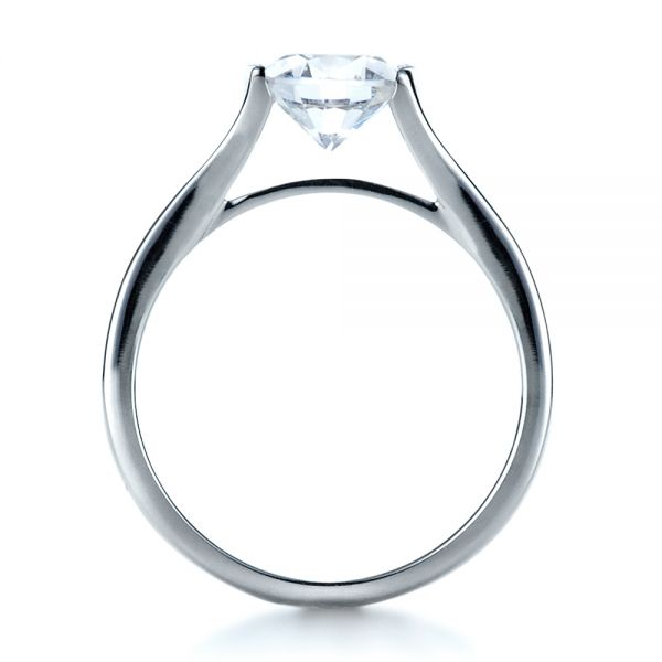 18k White Gold Half Bezel Diamond Engagement Ring - Front View -