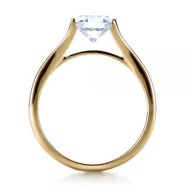 14k Yellow Gold Half Bezel Diamond Engagement Ring 1258