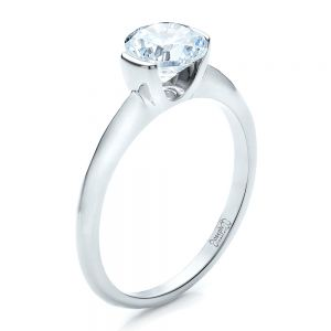 Half Bezel Diamond Solitaire Engagement Ring - Image
