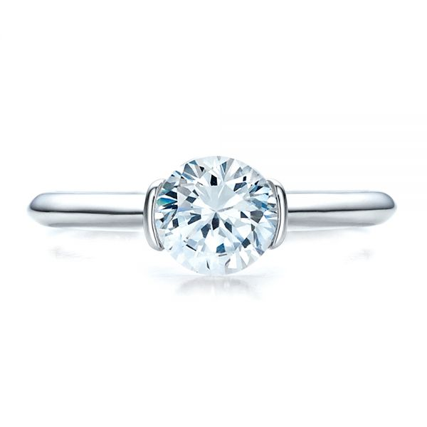 18k White Gold Half Bezel Diamond Solitaire Engagement Ring - Top View -