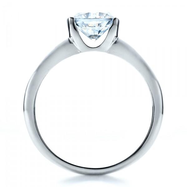 Half Bezel Diamond Solitaire Engagement Ring - Finger Through View