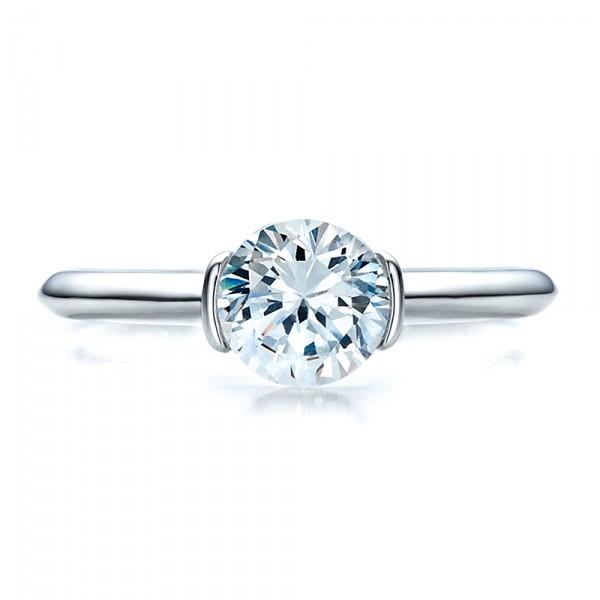 Half Bezel Diamond Solitaire Engagement Ring - Top View