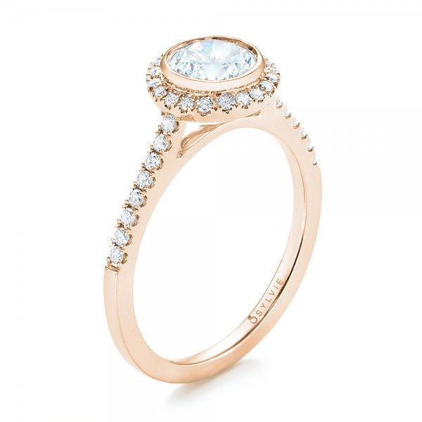 18K Rose Gold Halo Diamond Engagement Ring - Three-Quarter View -  103083 - Thumbnail