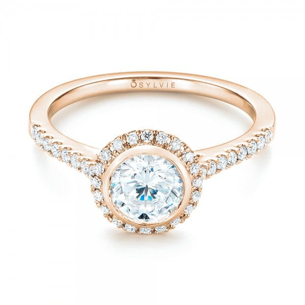 18K Rose Gold Halo Diamond Engagement Ring - Flat View -  103083 - Thumbnail