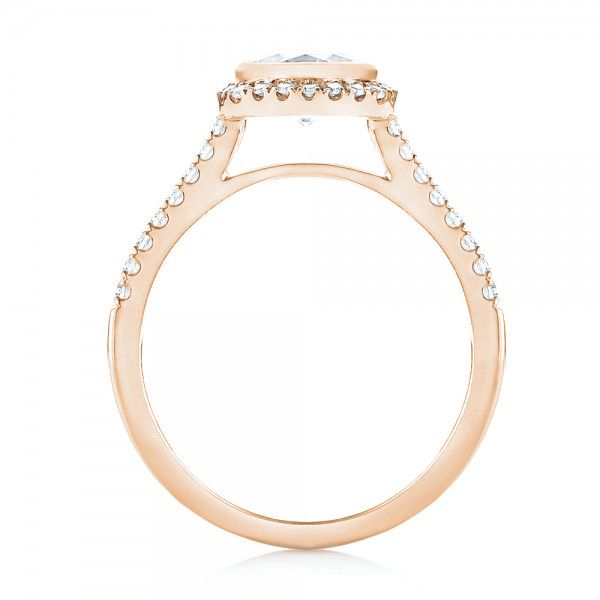 18K Rose Gold Halo Diamond Engagement Ring - Front View -  103083 - Thumbnail