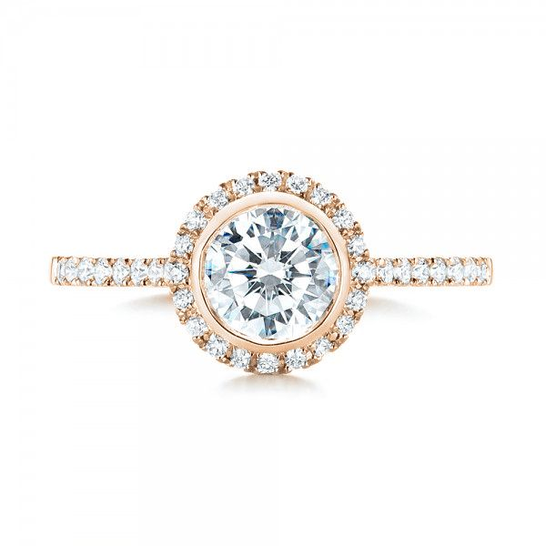 18K Rose Gold Halo Diamond Engagement Ring - Top View -  103083 - Thumbnail