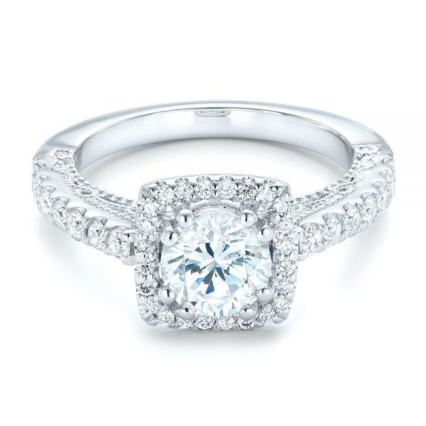 18k White Gold Halo Diamond Engagement Ring - Flat View -  102552