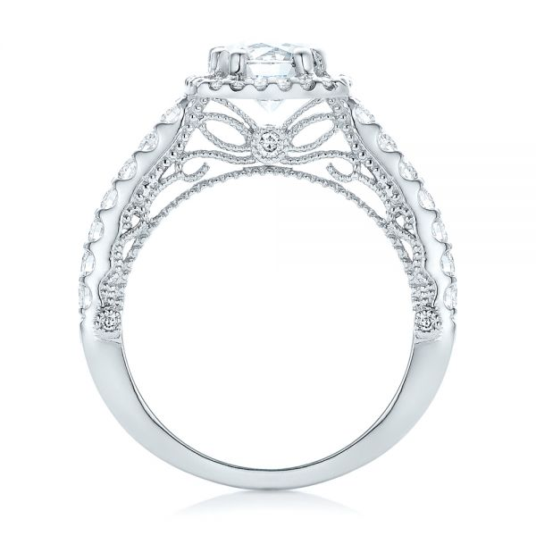 18k White Gold Halo Diamond Engagement Ring - Front View -  102552