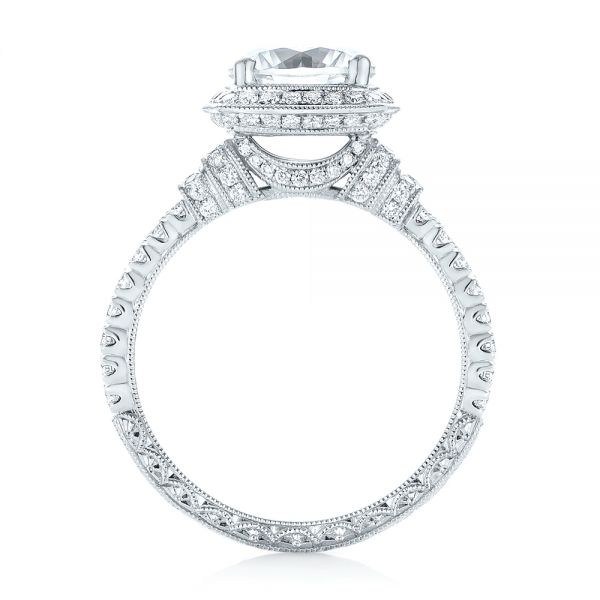 18k White Gold Halo Diamond Engagement Ring - Front View -