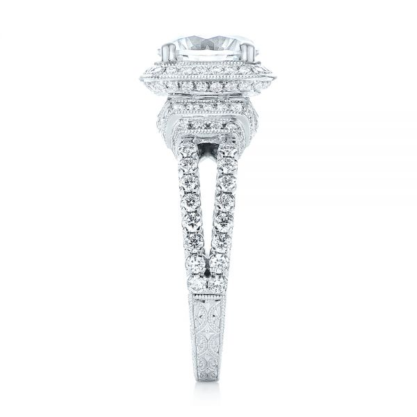 18k White Gold Halo Diamond Engagement Ring - Side View -