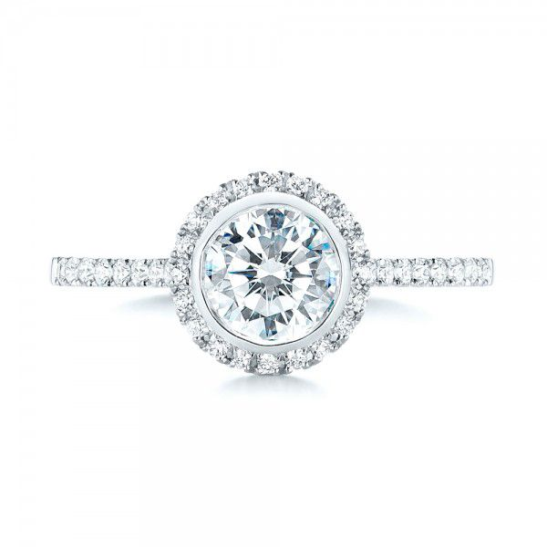 Halo Diamond Engagement Ring - Top View -  103083 - Thumbnail