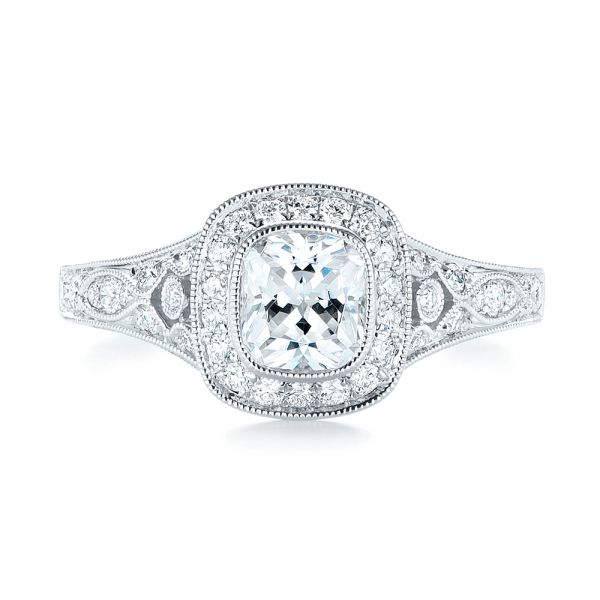Halo Diamond Engagement Ring - Top View -  103097 - Thumbnail