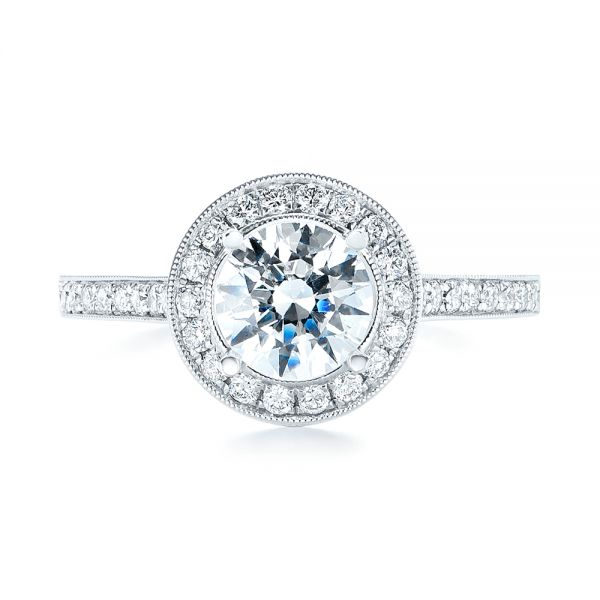 Halo Diamond Engagement Ring - Top View -  103828 - Thumbnail