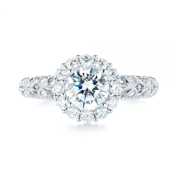 Halo Diamond Engagement Ring - Top View -  103900 - Thumbnail