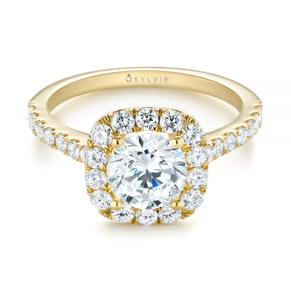 Halo Diamond Engagement Ring - Flat View -  104021 - Thumbnail